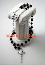 Beckham rosario cross DG Rosary Black Bead Necklace catholic silver pray fashion