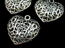 3 Pcs  Large Puffed Filigree Tibetan Silver Heart Pendant Necklace Gift L23