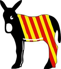 Autocollant sticker vinyl voiture moto ane catalan drapeau burro catalogne