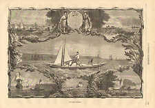 Pedal Powered Boat, Velocipede Nautique, Vintage 1873 French Antique Art Print