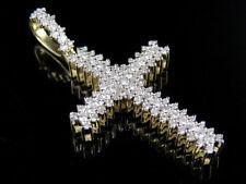Mens 10k Yellow Gold 3 Row Prong Cross Christ Real Diamond Charm Pendant 1ct