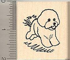 Bounding Bichon Frise dog Rubber Stamp WM E8104
