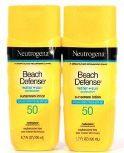2 Count Neutrogena 6.7 Oz Beach Defense Water & Sun SPF 50 Sunscreen Lotion