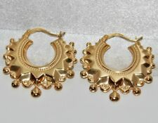 9ct Gold Victorian Design Spiked Large Creole Hoop Ladies Earrings - -