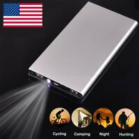 US 100000mAh Power Bank Ultra Thin External 2USB Backup Battery Charging Charger