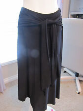 WHBM Medium Black Skirt Knee Length Career Work Tie Wrap At Waist Stiched Hem