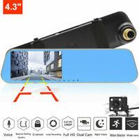 "HD 1080P Dual Lens 4.3"" Mirror Dash Cam Car DVR Rearview Vehicle Camera Recorder"