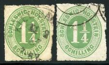 GERMANY STATES SCHLESWIG HOLSTEIN SCOTT# 4 MICHEL# 9 USED LOT OF 2 AS SHOWN