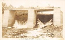 Canada Postcard Photo RPPC Ontario 1949 PAKESLEY Palmac Log Chalet Dollars Dam21