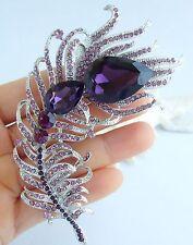 Wedding Purple Austrian Crystal Peacock Feather Brooch Pin Pendant 05038C2a