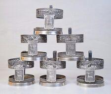 Vintage Russian Filigree Silver Plated 6 Glass Tea Cup Holders Podstakannik Deer