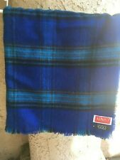 "Sale Rare Kenzo Paris Vtg Blue Plaid Wool Shawl 50 1/2"" x 52"""