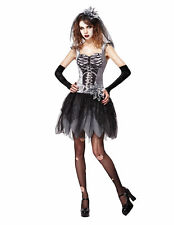 Skeleton Bride Black/White Fancy Dress Costume Outfit Womens Adult UK 10-12