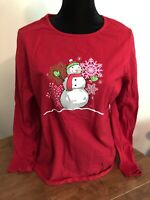 Holiday Time Size XXL 20 Long Sleeve T-Shirt Red Snowman Christmas Snowflakes