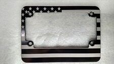 American Flag MOTORCYCLE, HMC Billet License Plate Frame, Black Anodized, MCBSNP