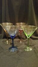 "Vintage Multi-Color Martini/Cocktail Glasses~Green/Amber/Blue Purple 6 1/4""H"