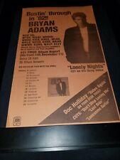 Bryan Adams Lonely Nights Rare Original Radio Promo Poster Ad Framed! #2