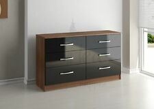 Birlea Lynx 6 Drawer Chest of Drawers - Walnut & Black Gloss