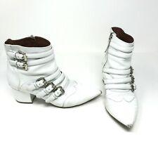 Tabitha Simmons Christy White Leather Multi Buckle Strap Heel Ankle Booties Shoe