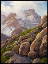 Jeff Love Art Original Oil Painting Western Alpine Mountain Rock Tree Landscape