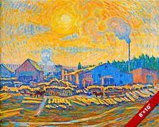 SAWMILL IN DECEMBER SUN SWEDISH LANDSCAPE ALMQVIST PAINTING ART CANVAS PRINT