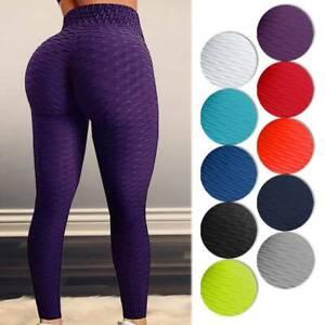 Women High Waist Yoga Pants Anti-Cellulite Leggings Sport Gym Trousers Honeycomb