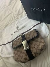 Auth Gucci GG Canvas Monogram Waist Belt Bum Bag Fanny Pack Brown