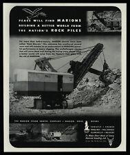 1944 MARION Steam Shovel Co. - Ohio - Cranes - Draglines - Rocks - VINTAGE AD