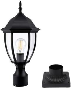 PARTPHONER Outdoor Post Light with Pier Mount Base, Waterproof Pole Lantern Lamp