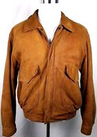 Hunt Club Leather Bomber Jacket Mens Size L Large 42 - 44 Tan Zip Lined Vented