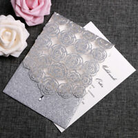 25/50 Glitter Laser Cut Wedding Invitation Card Kit Personalized Floral Invite