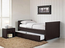 Twin Day Bed With Trundle Brown Faux Leather Head Foot Board For Home Guest Room
