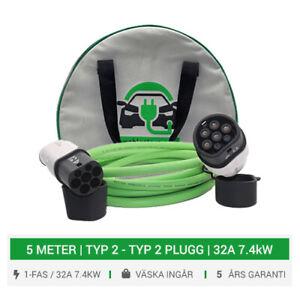 Typ 2 till Typ 2 Laddkabel för elektriska fordon 5M Laddningskabel 16/32A 7.4kW