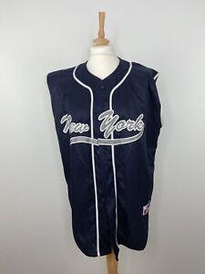 Vintage J Plus New York Yankees Baseball Jersey Navy Blue - Size L
