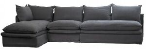 "138"" L Fiorenzo L Sofa with Chaise Exposed Seams Fabric Over Stuffed Modern"