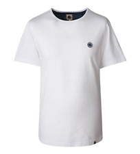 Mens Pretty Green T/shirt - White Crew Neck - Navy Paisley Neck Detail  Mitchell