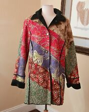 WEAVZ Patchwork Floral Faux Suede Faux Fur Art to Wear Coat Jacket Size XL Boho