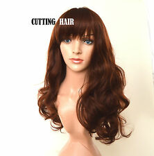 Honey Brown Auburn mix SKIN Top Full Wig Long Curly Layers Wig 011-33/130