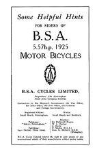 1925 BSA 5.57hp H25 instruction book