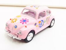 "Volkswagen Beetle Rose ""Peace and Love"" 1/64 ""3 Inche"" Diecast Friction NEUF"