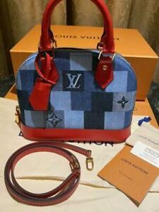 LOUIS VUITTON Alma BB Bag Denim Blue Red M45042 Damier Monogram Patchwork New LV