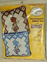 Vintage Needlepoint Holly Hobbie Sheet Pillow Case Kit #0437 Blue NEW