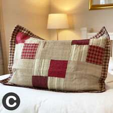 Large Rectangle Cushion Cover Pillowcase Cotton Deep Red / Beige Patchwork Check