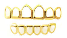14K Gold Plated Mouth Teeth Grills Grillz Set New Open Face LS001-6OF Player USA