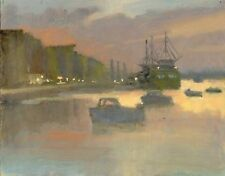 "ORIGINAL MICHAEL RICHARDSON ""Harbour Sunset"" Coastal Coast ship OIL PAINTING"