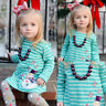 Toddler Kids Baby Girl Christmas Snowman Striped Princess Dress Clothes Outfits