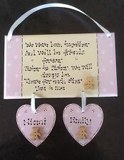 Handmade Personalised New baby Twins Girls Sisters Christening Poem Gift Plaque