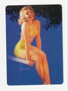 Beautiful Lady in a Yellow Bikini - Modern Linen Swap Playing Card