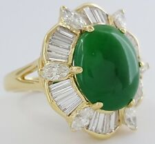 18K Yellow Gold 6.38 ct Cabochon Cut Green Jade & Diamond Halo Ballerina Ring