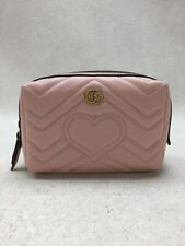 Secondhand Gucci Chevron Gg Marmont Small Heart Stitch Pouch Leather Pnk Bag